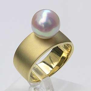 パールリング レディース 真珠の指輪 あこや本真珠 K18 ピンクホワイト系 9mm 指輪 ラウンド形 アコヤ あこや 真珠の指輪 リング 6月誕生石 ジュエリー 贈答 プレゼント 冠婚葬祭 結婚 ブライダル 入学 卒業 保証書付 ケース付