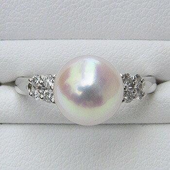 パールリング レディース 真珠の指輪 あこや本真珠 ダイヤモンド プラチナ ピンクホワイト系 0.17ct 9mmアコヤ 真珠の指輪 記念日 6月誕生石 冠婚葬祭 プレゼント 品質保証書付