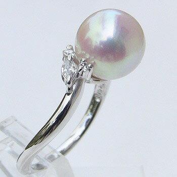 あこや本真珠 リング ダイヤモンド 0.08ct パール ピンクホワイト系 9mm プラチナ PT900 指輪アコヤ本真珠