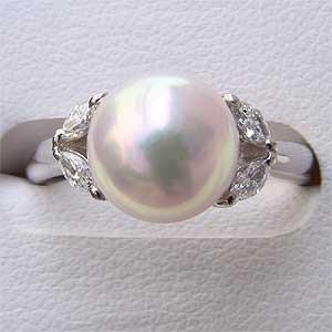 パールリング レディース 真珠の指輪 あこや本真珠 ダイヤモンド PT900プラチナ ピンクホワイト系 9mmアコヤ 真珠の指輪 記念日 6月誕生石 冠婚葬祭 プレゼント 品質保証書付
