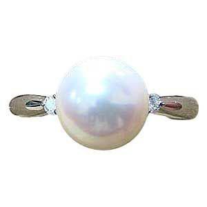 パールリング レディース 真珠の指輪 あこや真珠 ダイヤモンド ホワイトゴールド 6月誕生石 贈答 プレゼント 冠婚葬祭 結婚 ブライダル 入学 入園 卒業 卒園 保証書付 ケース付