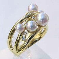 あこや本真珠:K18:リング:ダイヤモンド:パール:ピンクホワイト系:3.75-6mm:ラウンド形:指輪