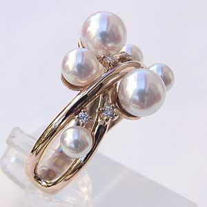 6月誕生石 リング パール 指輪 あこや真珠パールリング K10ピンクゴールド ダイヤモンド