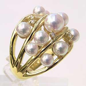 パールリング レディース 真珠の指輪 あこや本真珠 K18 ピンクホワイト系 ラウンド形 アコヤ あこや 真珠の指輪 リング 6月誕生石 ジュエリー 贈答 プレゼント 冠婚葬祭 結婚 ブライダル 入学 卒業 保証書付 ケース付