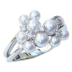 清楚なベビーパールが贅沢にに手元を飾ります真珠パール::指輪:リング:あこや本真珠:ベビーパー...
