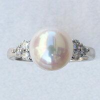 6月誕生石リングパール指輪あこや真珠パールホワイトゴールドリングダイヤモンド