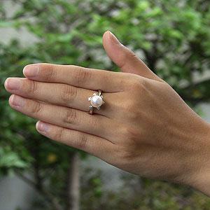 パールリング レディース 真珠の指輪 あこや本真珠 ダイヤモンド K18WGホワイトゴールド ピンクホワイト系 0.09ct 9mmアコヤ 真珠の指輪 記念日 6月誕生石 冠婚葬祭 プレゼント 品質保証書付