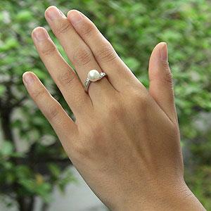 パールリング レディース 真珠の指輪 あこや真珠 ダイヤモンド K10ホワイトゴールド アコヤ あこや 真珠の指輪 パールリング 6月誕生石 ジュエリー 贈答 冠婚葬祭 結婚 ブライダル 入学 入園 卒業 卒園 保証書付