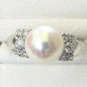 パールリング レディース 真珠の指輪 あこや本真珠 花珠真珠 ダイヤモンド PT999 純プラチナ 9mm 大珠 アコヤ あこや 真珠の指輪 リング 6月誕生石 贈答 プレゼント 冠婚葬祭 ブライダル 入学 卒業 保証書付 ケース付
