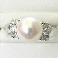 花珠真珠パールリング真珠指輪純プラチナPT999あこや本真珠大珠9mmダイヤモンドブライダルリング【RCP】
