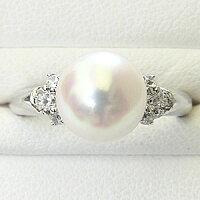 花珠パールリング花珠真珠指輪純プラチナPT999あこや本真珠9mm大珠ダイヤモンド【RCP】