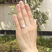 花珠真珠パールリング真珠指輪花珠あこや本真珠純プラチナPT999リングダイヤモンド0.05ct【RCP】