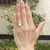 真珠パールリングあこや本真珠指輪K18WGホワイトゴールド真珠の直径9mmピンクホワイト系ダイヤモンド4石0.20ct指輪6月誕生石