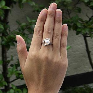 ブライダル リング パール 指輪 あこや真珠パールリング K10ホワイトゴールド ダイヤモンド