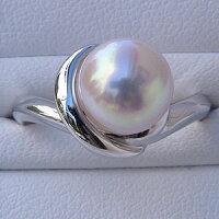 あこや本真珠:リング:シンプル:パール:ピンクホワイト系:9mm:プラチナ:指輪(アコヤ本真珠)