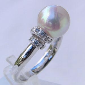 パールリング レディース 真珠の指輪 あこや本真珠 ダイヤモンド プラチナ ピンクホワイト系 0.25ct 9mmアコヤ 真珠の指輪 記念日 6月誕生石 冠婚葬祭 プレゼント 品質保証書付