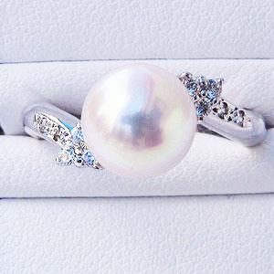 6月誕生石 リング パール 指輪 あこや真珠パールリング K10ホワイトゴールド ダイヤモンド