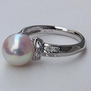 パールリング レディース 真珠の指輪 あこや本真珠 ダイヤモンド K18WGホワイトゴールド ピンクホワイト系 0.14ct 9mmアコヤ 真珠の指輪 記念日 6月誕生石 冠婚葬祭 プレゼント 品質保証書付