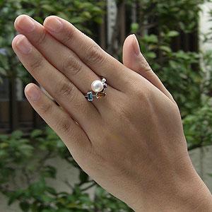 パールリング レディース 真珠の指輪 あこや真珠 トパーズ トルマリン ダイヤモンド K18WGホワイトゴールド ピンクホワイト系 9mmアコヤ 真珠の指輪 記念日 6月誕生石 冠婚葬祭 プレゼント 品質保証書付