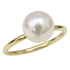 リング 指輪 パールリング 真珠の指輪 K18 ゴールド 18金 真珠 パール あこや本真珠 8ミリ アコヤ シンプルなリング 重ね着け用リング 品質保証書付き 自分買い プレゼント ギフト 【RCP】