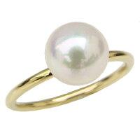 リング指輪パールリング真珠の指輪K18ゴールド18金真珠パールあこや本真珠8ミリアコヤシンプルなリング重ね着け用リング品質保証書付き自分買いプレゼントギフト【RCP】