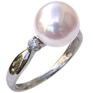 パールリング レディース 真珠の指輪 オーロラ 花珠真珠 あこや真珠 ダイヤモンド PT999 純プラチナ 0.10ct 9mm アコヤ あこや 真珠の指輪 6月誕生石 ジュエリー 贈答 冠婚葬祭 結婚 ブライダル 入学 卒業 保証書付