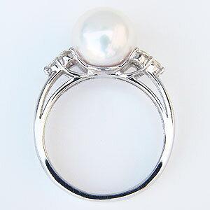 リング パールリング 真珠 指輪 オーロラ花珠 あこや本真珠 9mm ホワイトゴールド K10WG ダイヤモンド 0.30ct 冠婚葬祭用 品質保証書付き ケース付き ラッピング無料 6月誕生石 記念日 誕生日 真珠婚 プレゼント ギフト