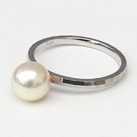 7ミリパールPT900プラチナリングシンプルデザインカットリングあこや本真珠指輪【RCP】