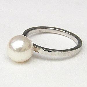 パールリング レディース 真珠の指輪 あこや本真珠 PT900プラチナ 8mm デザインカットリング シンプル アコヤ あこや 真珠の指輪 リング  ジュエリー 贈答 プレゼント 冠婚葬祭 結婚 ブライダル 入学 卒業 保証書付 ケース付