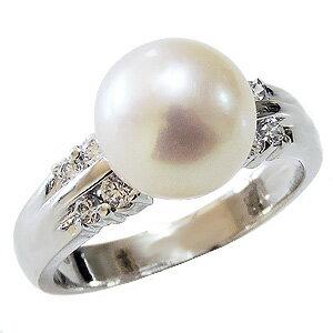 パールリング レディース 真珠の指輪 オーロラ 花珠あこや本真珠 ダイヤモンド プラチナ 9mm アコヤ あこや 真珠の指輪 パールリング 6月誕生石 ジュエリー 贈答 冠婚葬祭 結婚 ブライダル 入学 入園 卒業 卒園 保証書付