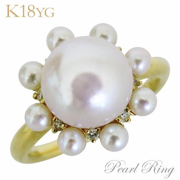 パールリング レディース 真珠の指輪 あこや本真珠 ダイヤモンド K18イエローゴールド 3mm・9mm ラウンド大珠 複数パール アコヤ あこや 真珠の指輪 6月誕生石 ジュエリー 贈答 冠婚葬祭 結婚 ブライダル 保証書付 ケース付