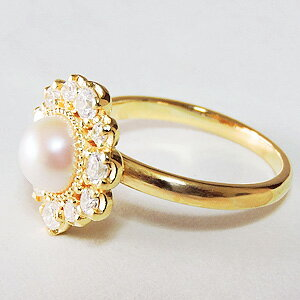 パールリング レディース 真珠の指輪 14Kイエローゴールド ダイヤモンド k18ゴールド 18金 真珠6mm アンティーク調 人気 6月誕生石 ギフト 品質保証書付