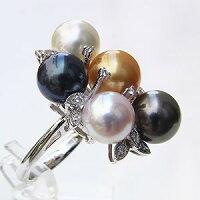 タヒチ黒蝶真珠:南洋白蝶真珠:リング:ダイヤモンド:パール:K18WG:ホワイトゴールド:指輪:(マルチカラーリング)