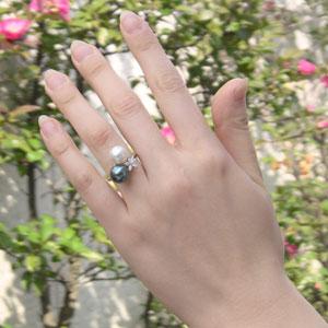 南洋白蝶真珠 タヒチ黒蝶真珠 リング ダイヤモンド パール ピンクホワイト/ブルーグリーン系 9mm K18WG ホワイトゴールド 指輪