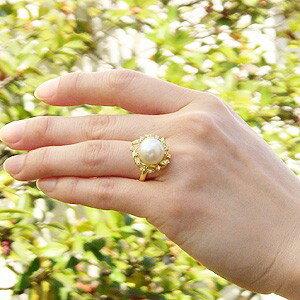 真珠 パール リング 南洋白蝶真珠 ピンクホワイト系 12mm ゴールド K18 ゴールド 18金 指輪