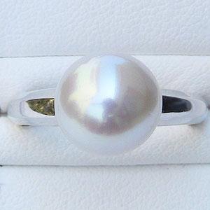 真珠 パール リング 南洋白蝶真珠 10mm ホワイトゴールド 真珠 パール 指輪