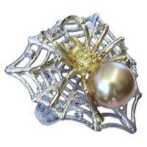 真珠 パール 南洋白蝶真珠 ゴールドパール K18 K18WG 指輪 リング くも 蜘蛛 クモ