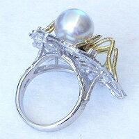 パール指輪南洋真珠パールリングホワイトゴールドダイヤモンド