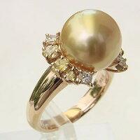 南洋白蝶真珠:ダイヤモンド:リング:0.82ct:ゴールド系:12mm珠:カラーダイヤモンド:指輪