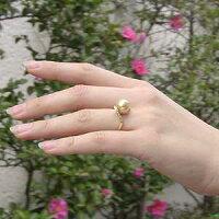 南洋白蝶真珠:K18:リング:ダイヤモンド:パール:クリーム系:10mm::指輪