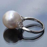 南洋白蝶真珠:PT900:プラチナ900:リング:ダイヤモンド:ピンクホワイト系:13mm:指輪