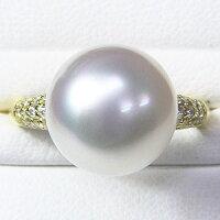 ブライダルリングパール指輪K18ゴールド南洋真珠パールリングダイヤモンド
