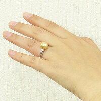 真珠パール:リング:南洋白蝶真珠:10mm:ゴールド系:プラチナ:PT900:ダイヤモンド:ゴールデンパール:指輪