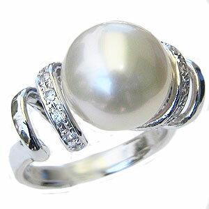 真珠 パール リング 南洋白蝶真珠 11mm プラチナ リング