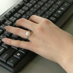 南洋白蝶真珠 リング ダイヤモンド パール ピンクホワイト系 10mm PT900 プラチナ 指輪