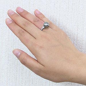 真珠 パール リング タヒチ黒蝶真珠 10mm 真珠 パール 指輪 リング K18WG ホワイトゴールド ダイヤモンド