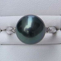 タヒチ黒蝶真珠:PT900:プラチナリング:グリーン系:11mm:ダイヤモンド:真珠:パール:指輪:リング