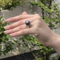 タヒチ黒蝶真珠:リング:ダイヤモンド:パール:レッドグレー系:15mm:PT900:プラチナ:指輪