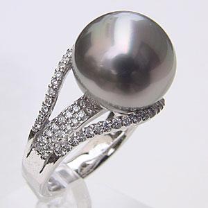 リング パール 指輪 黒真珠 ブラックパールリング K10ホワイトゴールド ダイヤモンド