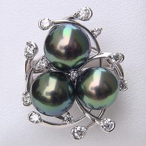 タヒチ黒蝶真珠 リング ダイヤモンド パール グリーン系 9-9.5mm K18WG ホワイトゴールド 指輪